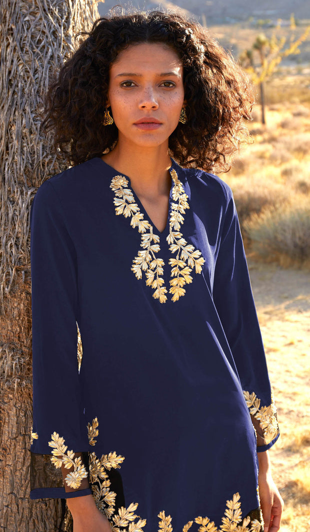 Mahnaz Gold Embellished Long Modest Tunic - Sapphire - PREORDER