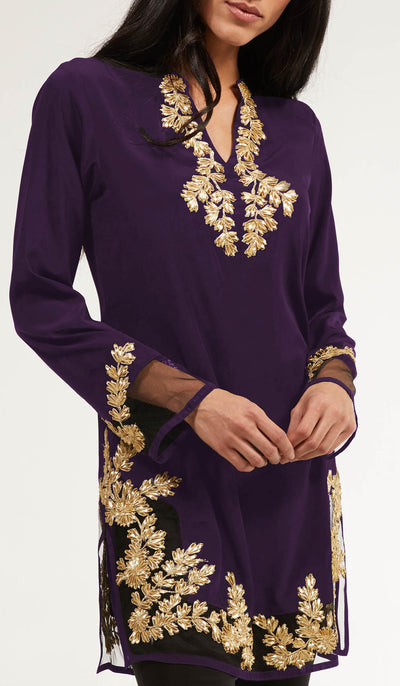 Mahnaz Gold Embellished Long Modest Tunic - Deep Plum