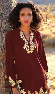Mahnaz Gold Embellished Long Modest Tunic - Ruby - PREORDER