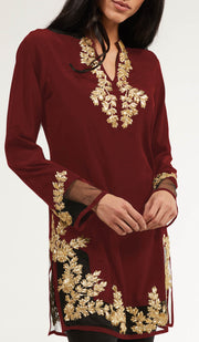 Mahnaz Gold Embellished Long Modest Tunic - Ruby