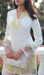 Mahnaz Gold Embellished Long Modest Tunic - Off White