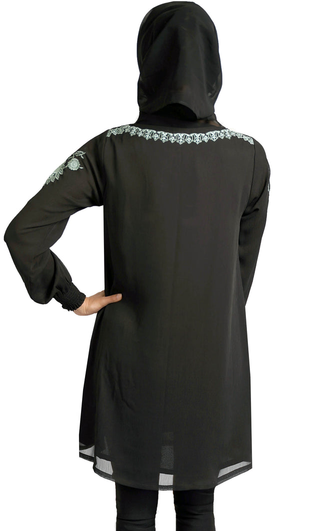 Manal Embroidered Formal Long Modest Tunic - Black