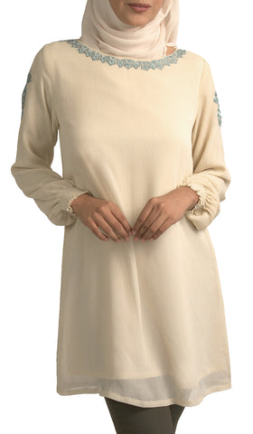 Manal Embroidered Formal Long Modest Tunic - Cream