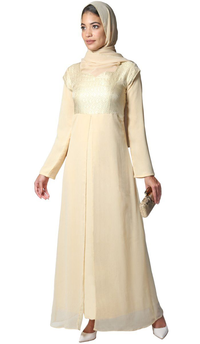 Long Sleeve Modest Muslim Formal Evening Dress Beige Gold | Artizara ...