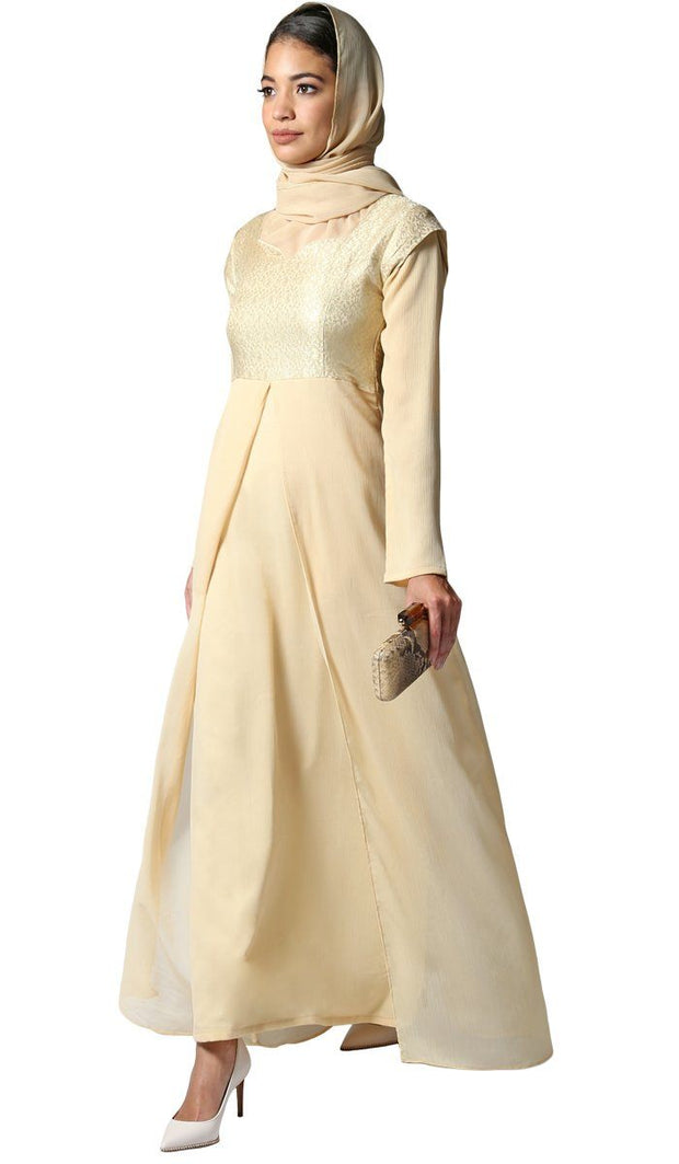 Marcella Long Sleeve Modest Muslim Formal Evening Dress - Beige Gold