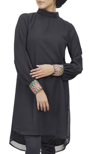 Maria Embroidered Chiffon Midi Dress - Black