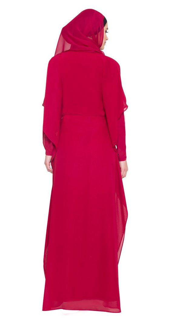 Mariel Modest Muslim Evening Dress Abaya - Maroon Red - ARTIZARA.COM