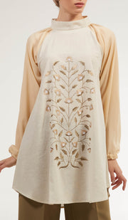 Marni Embroidered Long Modest Tunic - Flax