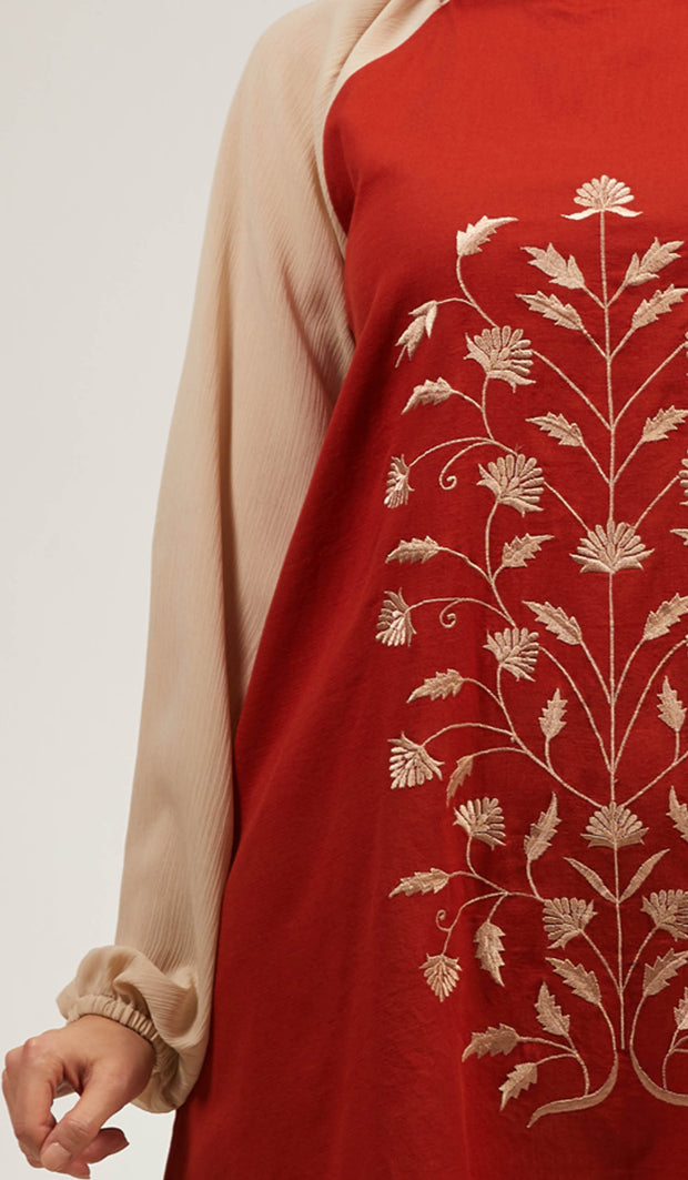 Marni Embroidered Long Modest Tunic - Russett