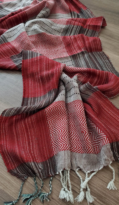 Maroon, Black and Grey Plaid Wrap Hijab