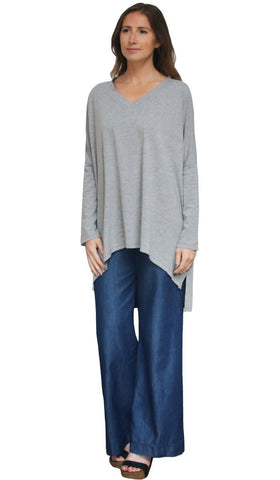 Marwa Long Loose Modest Stretch Top - Silver Gray