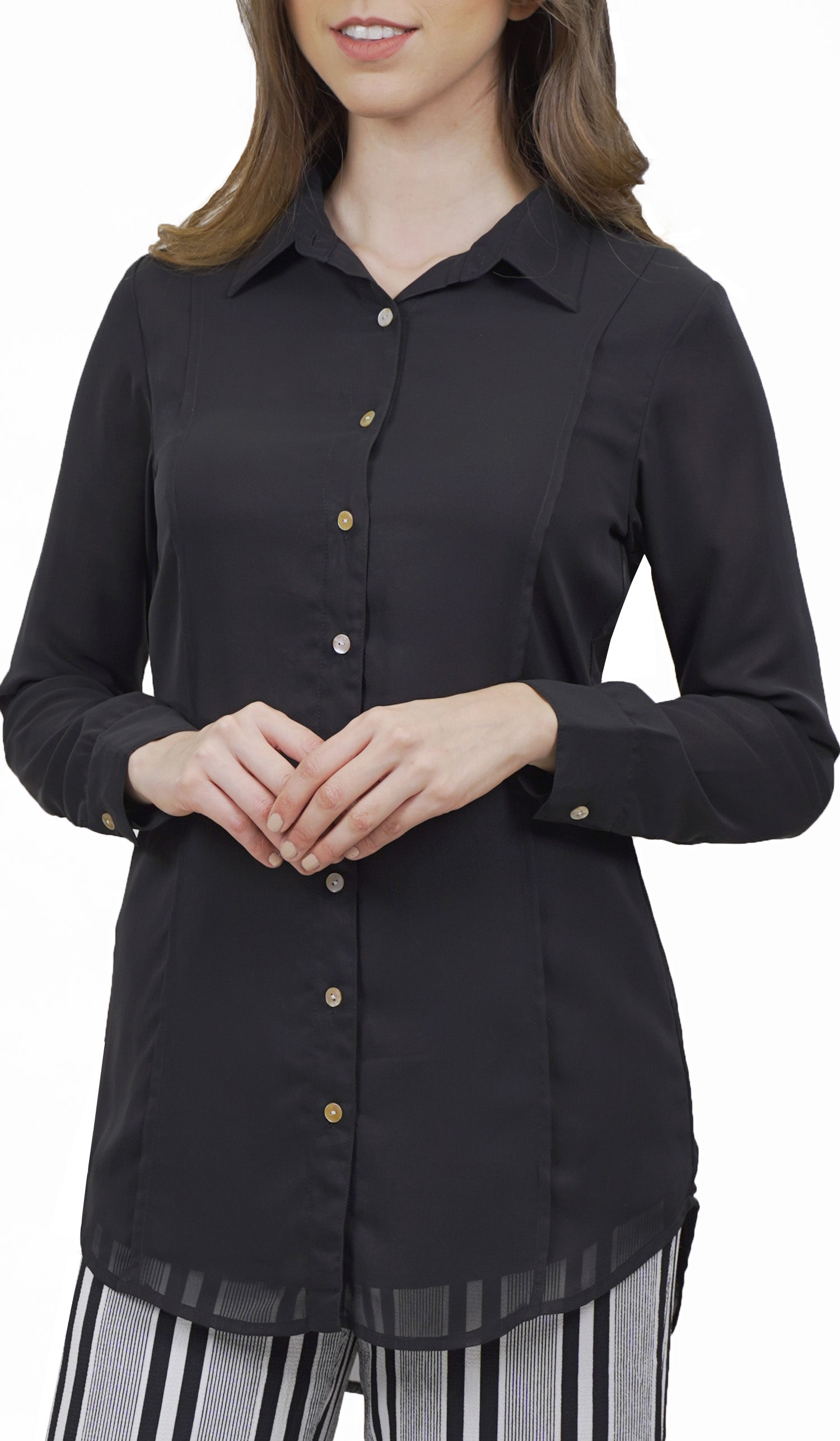 107964b81 Marwa Black Chiffon Long Buttondown Dress Shirt | Modest Fashion | Artizara  – ARTIZARA.COM