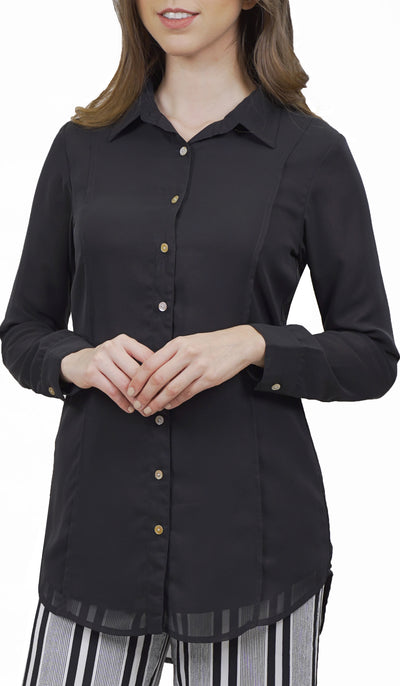 Marwa Chiffon Long Collar Buttondown Dress Shirt - Black
