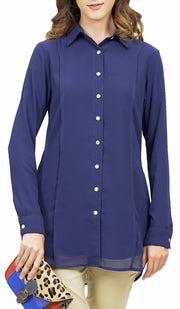 Marwa Chiffon Long Collar Buttondown Dress Shirt - Navy Blue
