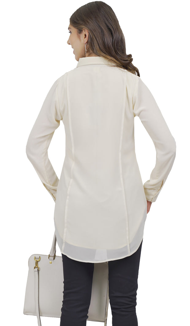 Marwa Chiffon Long Collar Buttondown Dress Shirt - Off White