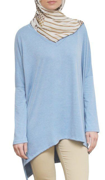 Marwa Long Loose Modest Stretch Top - Blue
