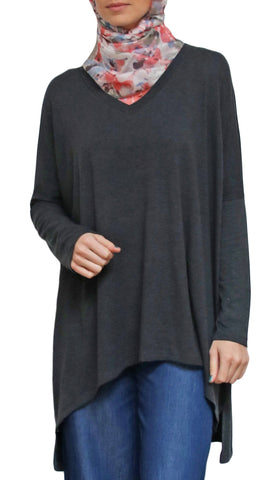 Marwa Long Loose Modest Stretch Top - Charcoal Gray