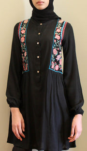 Marzo Embroidered Cotton Modest Buttondown Tunic - Black