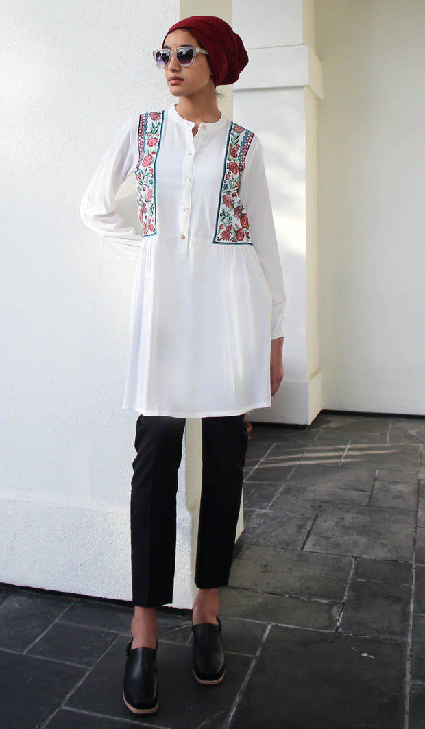 Marzo Embroidered Cotton Modest Buttondown Tunic - White