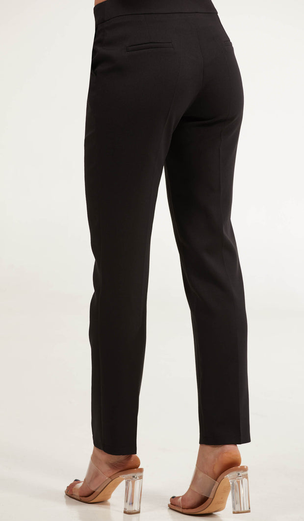 Maya Classic Tailored Stretch Pencil Pants - Black