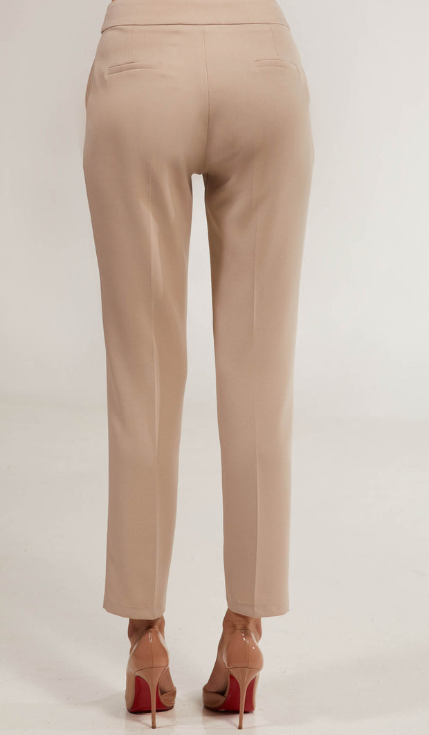 Maya Classic Tailored Stretch Pencil Pants - Nude