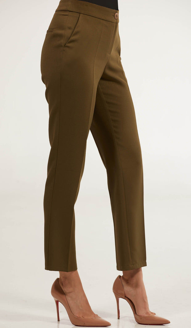 Maya Classic Tailored Stretch Pencil Pants - Olive