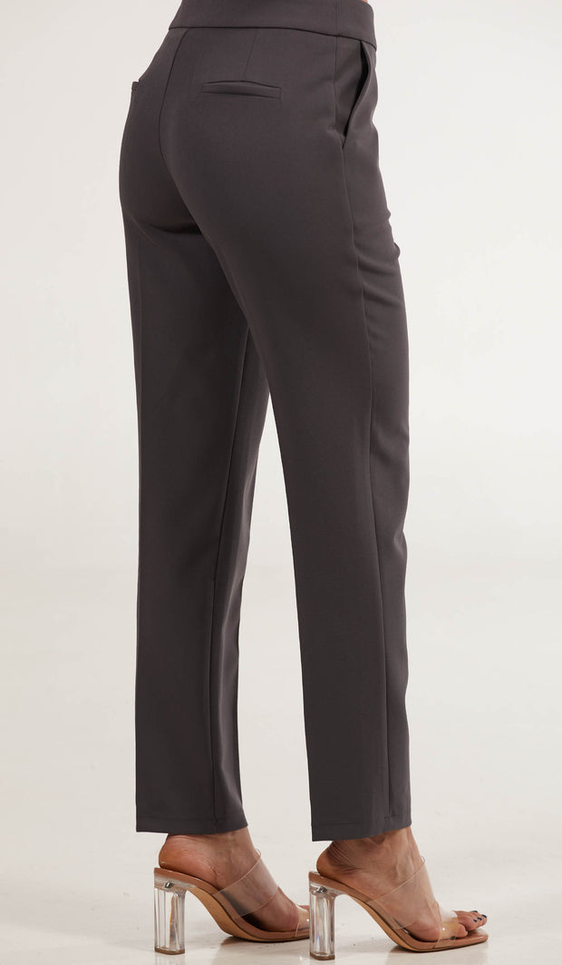 Maya Classic Tailored Stretch Pencil Pants - Slate Gray