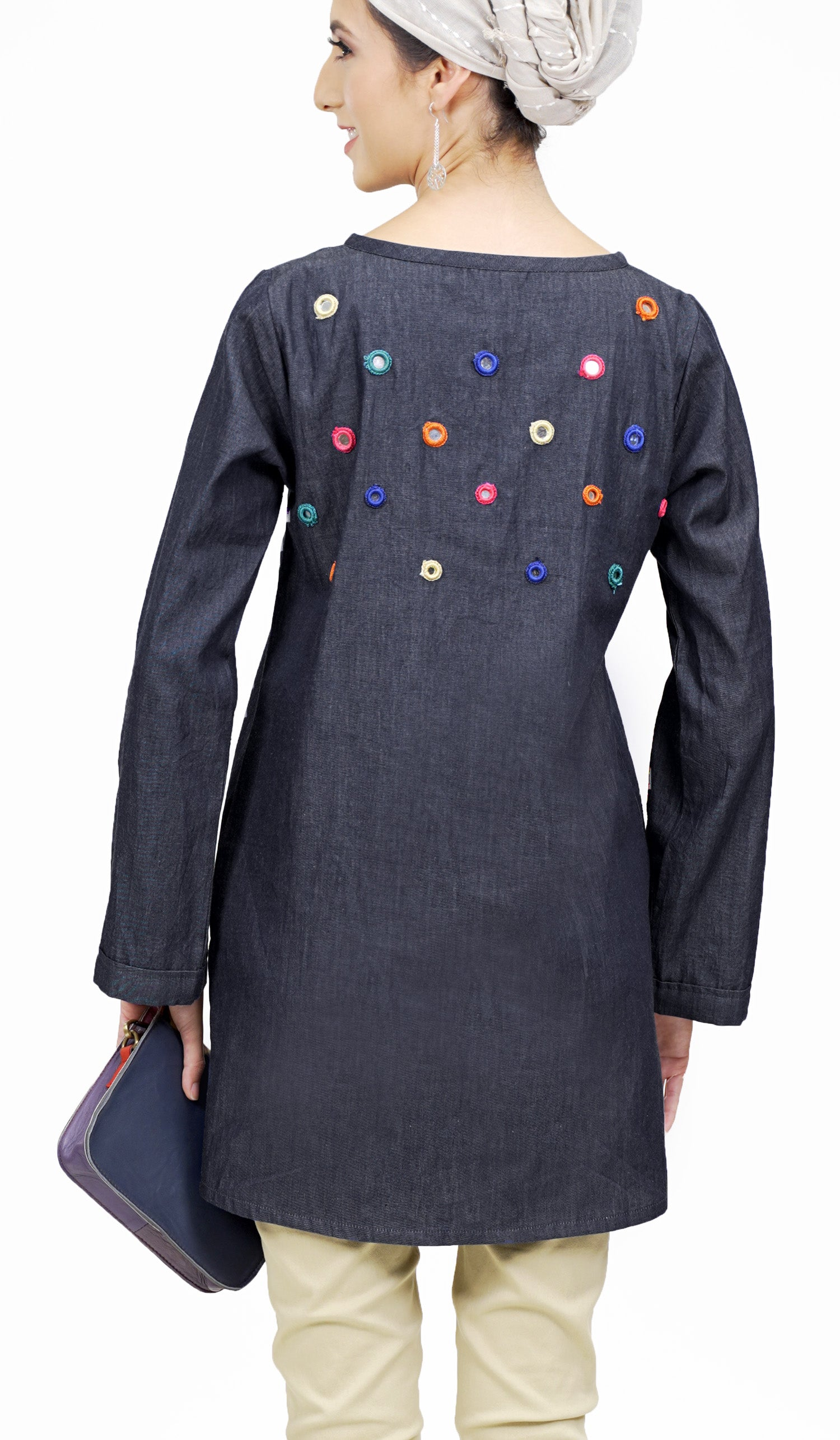 Maya Mirror Embroidered Modest Denim Tunic - Black