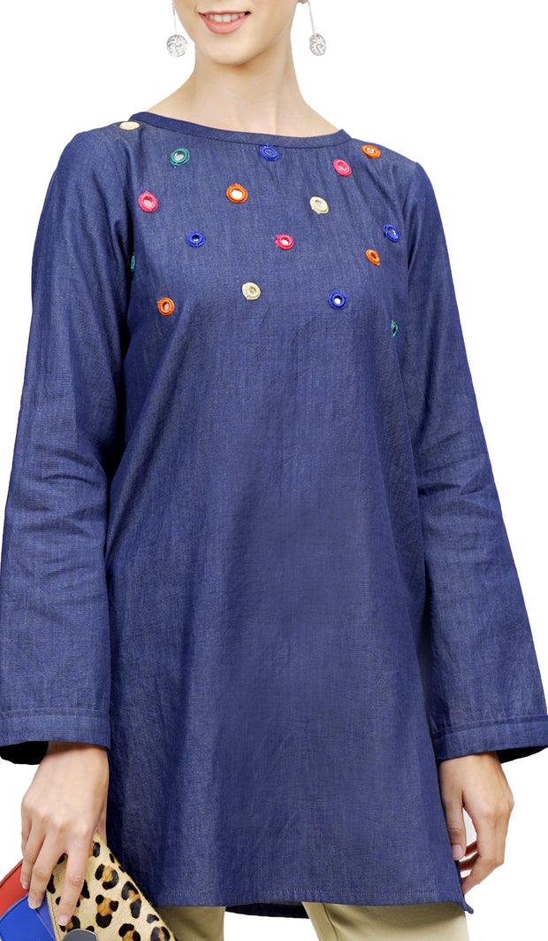 Maya Mirror Embroidered Modest Denim Tunic - Indigo