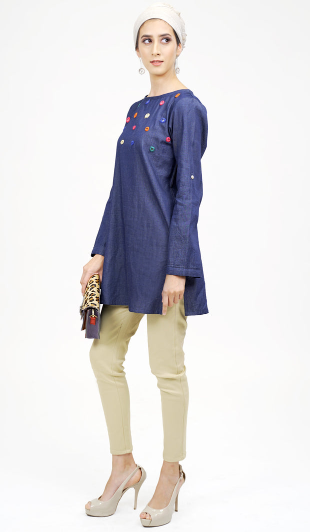 Maya Mirror Embroidered Modest Denim Tunic - Denim