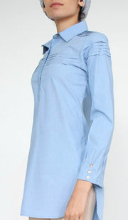 Melva Cotton Buttondown Dress Shirt - French Blue