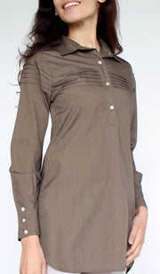 Melva Cotton Buttondown Dress Shirt - Olive