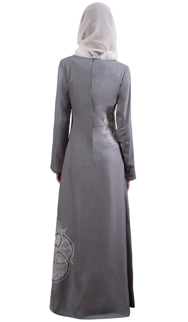 Merve Embroidered Formal Abaya Maxi Dress - Silver
