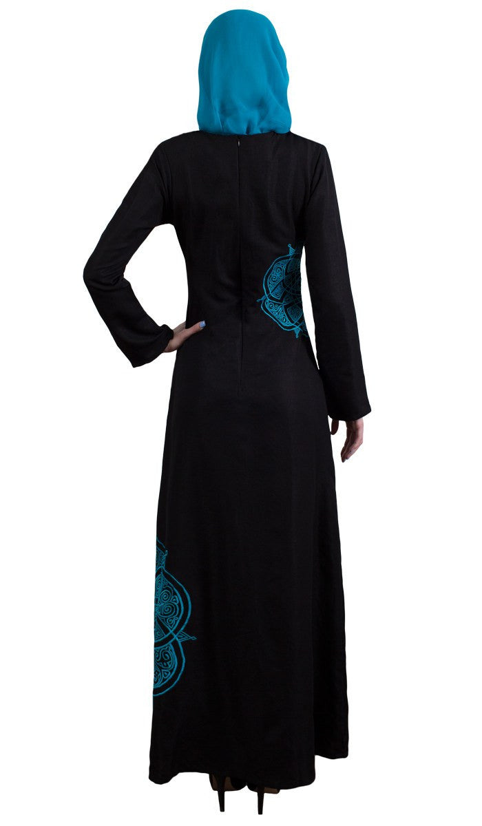 Merve Embroidered Formal Abaya Maxi Dress - Black