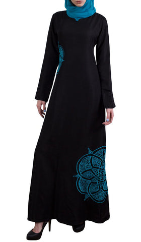 Merve Embroidered Formal Maxi Abaya Dress - Black
