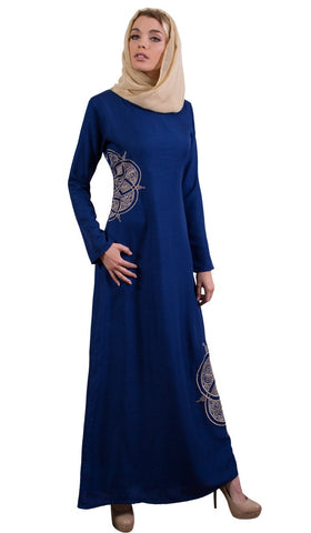 Merve Embroidered Formal Abaya Maxi Dress - Blue - ARTIZARA.COM