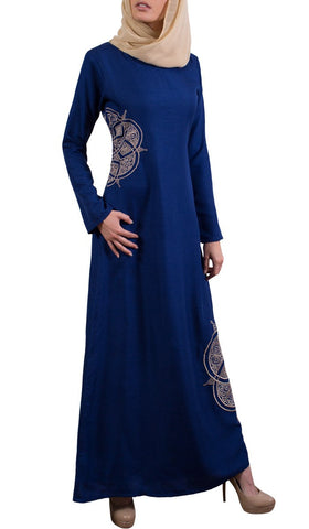 Merve Embroidered Formal Abaya Maxi Dress - Blue