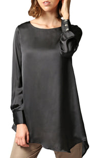 Mina Charmeuse Satin Formal Long Tunic Dress - Black