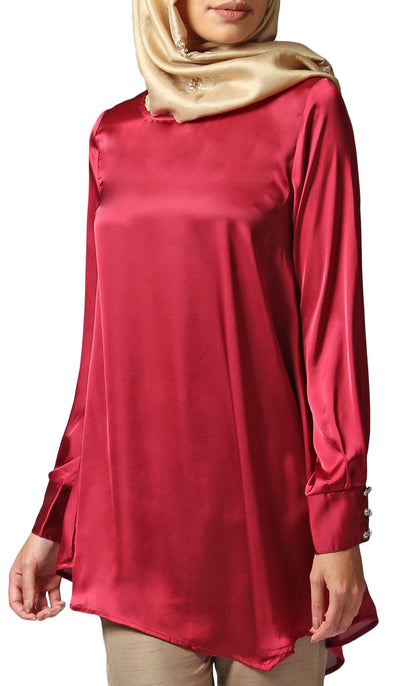 Mina Charmeuse Satin Formal Long Tunic Dress - Maroon
