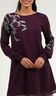 Mitza Embroidered Long Modest Tunic - Purple