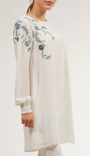 Mitza Embroidered Long Modest Tunic - Off White