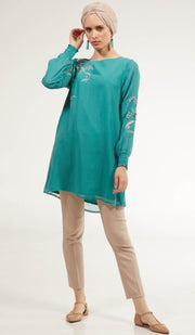 Mitza Embroidered Long Modest Tunic - Turquoise