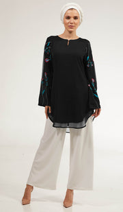 Momina Embroidered Long Modest Tunic - Black