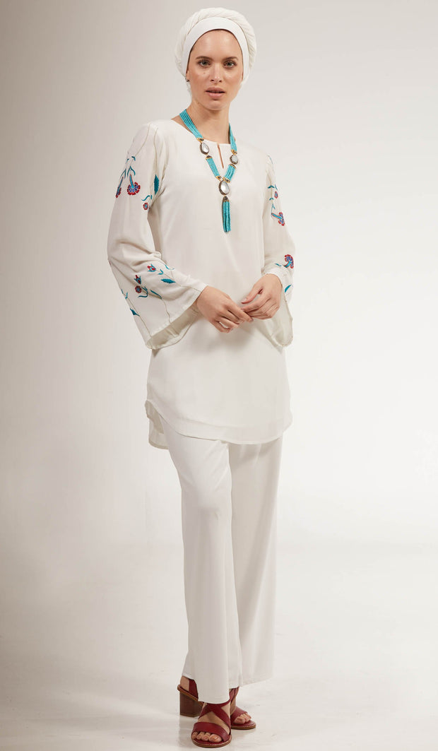 Momina Embroidered Long Modest Tunic - Off White
