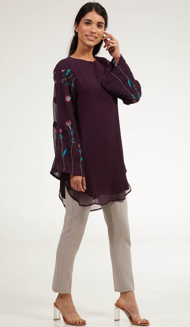 Momina Embroidered Long Modest Tunic - Purple