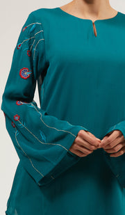 Momina Embroidered Long Modest Tunic - Teal
