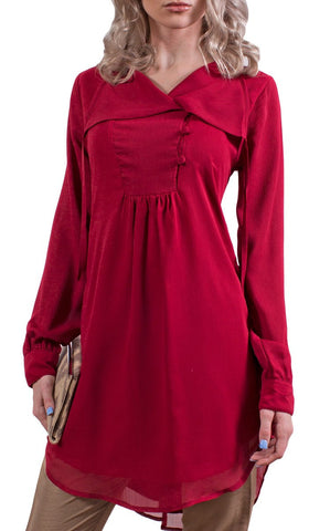 Muna Chiffon Modest Muslim Tunic Dress - Burgundy