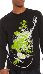 """Music of the Heart"" Mens Long Sleeve Designer Tee - Black - ARTIZARA.COM"