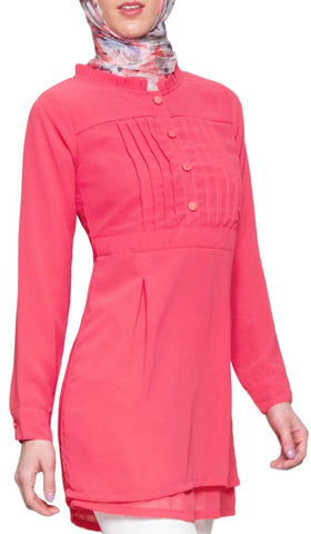 Myra Georgette Modest Muslim Tunic Dress - Hot Pink