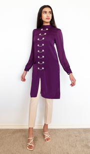 Naeema Embroidered Long Modest Midi Dress - Purple Orchid